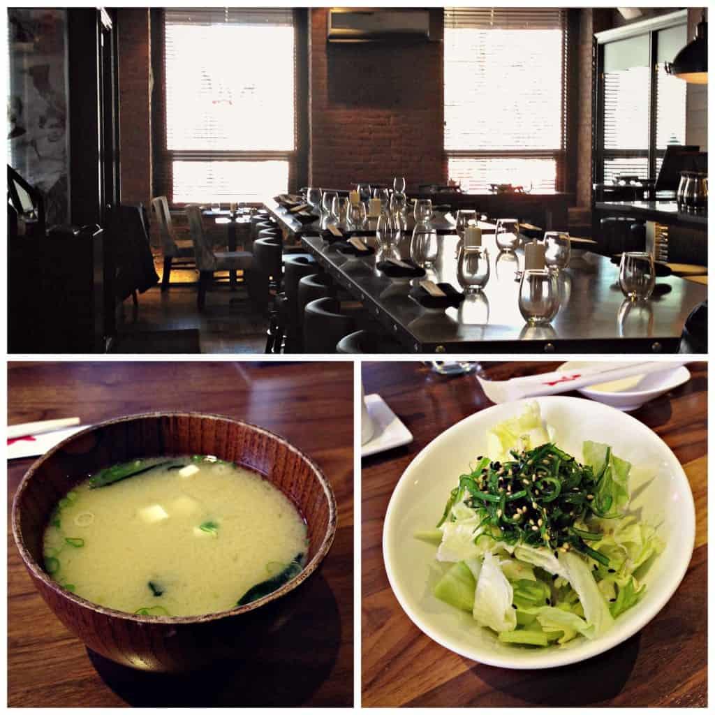 Entrées sur l'heure du midi au Kyo Bar Japonais : soupe miso et salade.