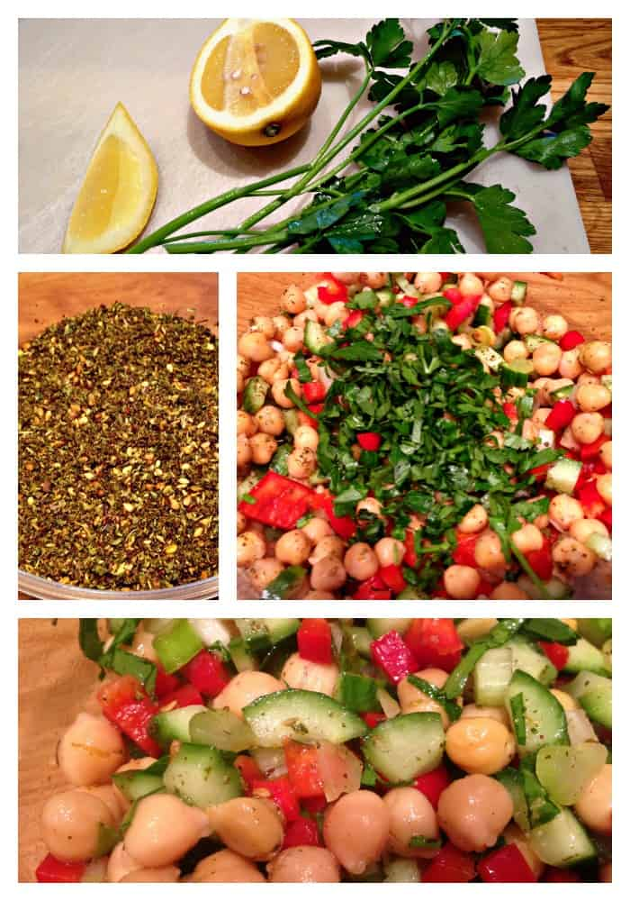 Salade de pois chiche en étapes
