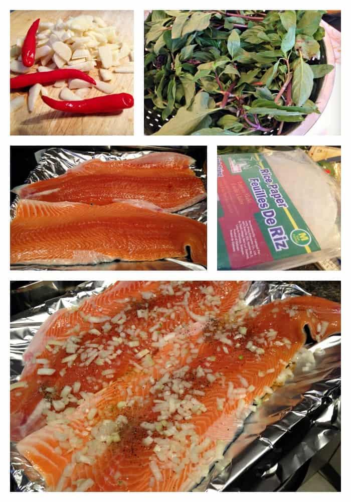 Ingrédients - rouleaux de printemps au saumon