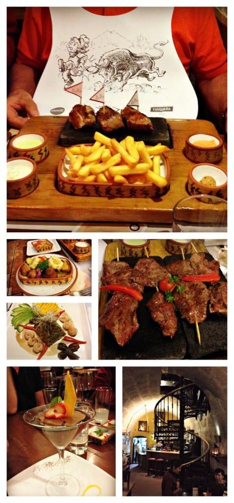 Arequipa - restaurant Zig Zag où on sert des grillades de viande sur pierre volcanique