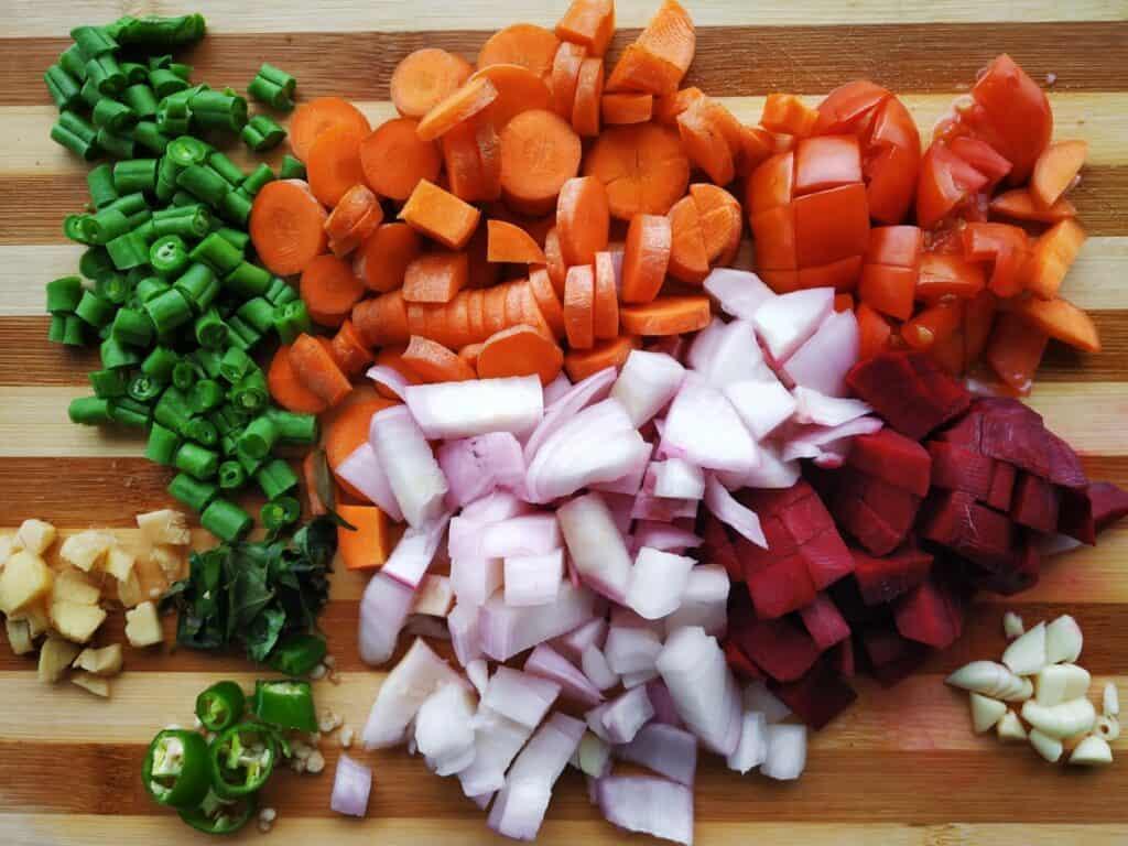 Légumes coupées