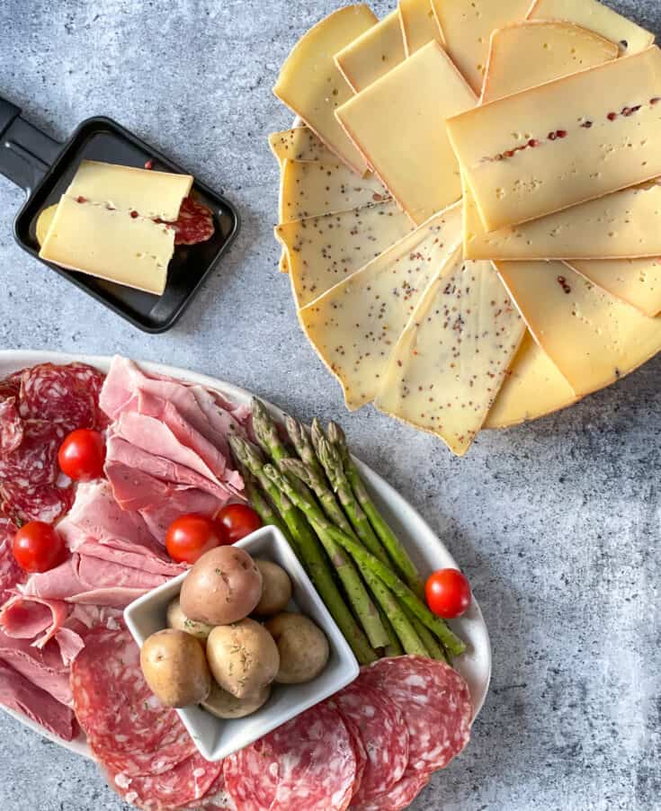 Meats, cold cuts and side dishes for raclette