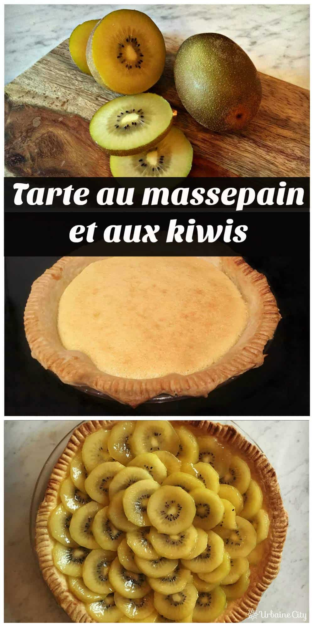 Les étapes de la tarte aux kiwis et massepain