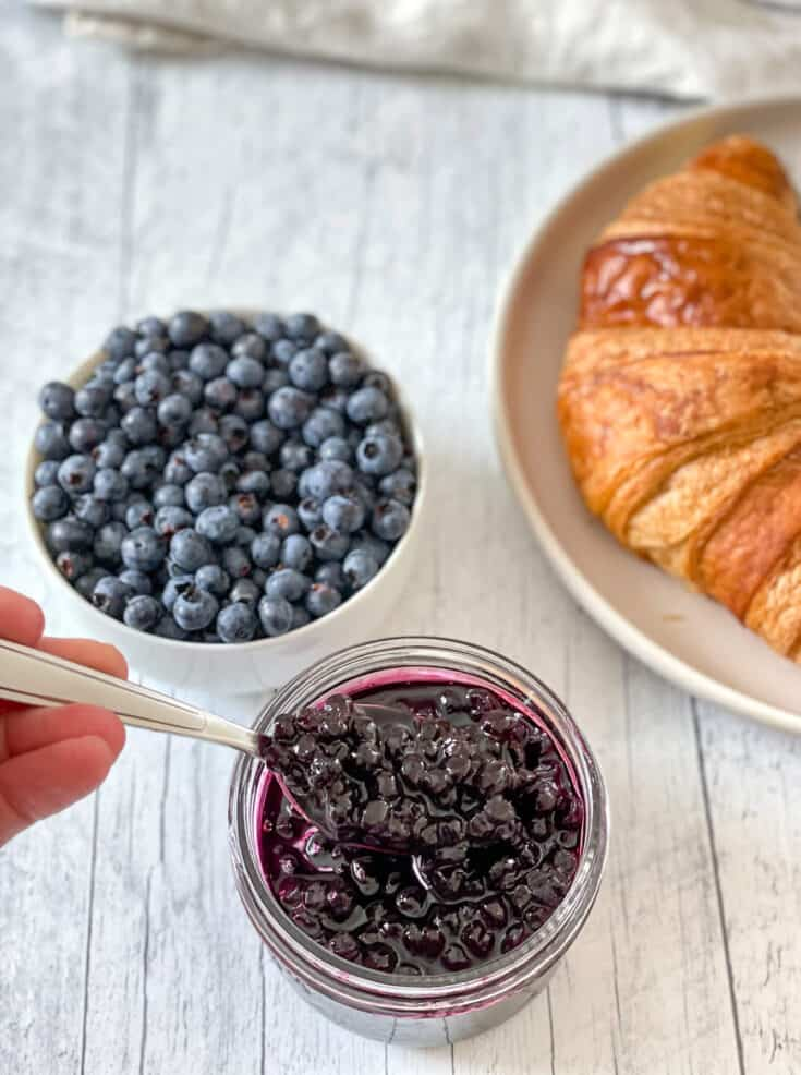 Blueberry jam and croissants