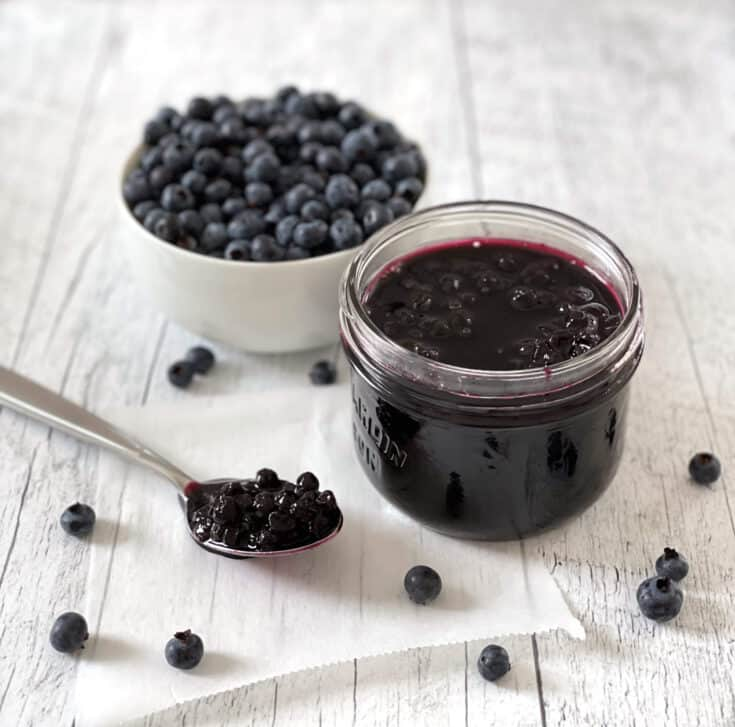 Blueberries and blueberry jam