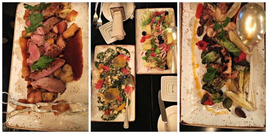 Canard, salade nicoise, pieuvre grillée