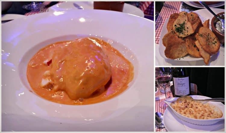 quenelle lyonnaise de brochet maison, sauce Nantua accompagnés de pommes de terre dorées au beurre et gratin de macaroni