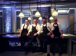Les chefs de notre Atelier Nespresso : Olivier Perret, Joseph Viola, Sébastien Bouillet et Roland Del Monte