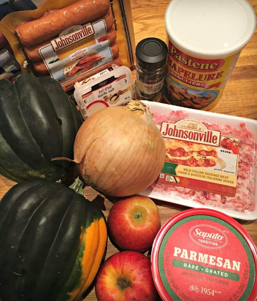 Ingrédients de la recette - Courge poivrée farcie à la saucisse Johnsonville