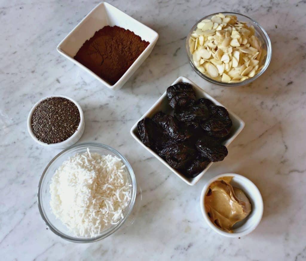 Ingredients pour la recette de boules d'énergie