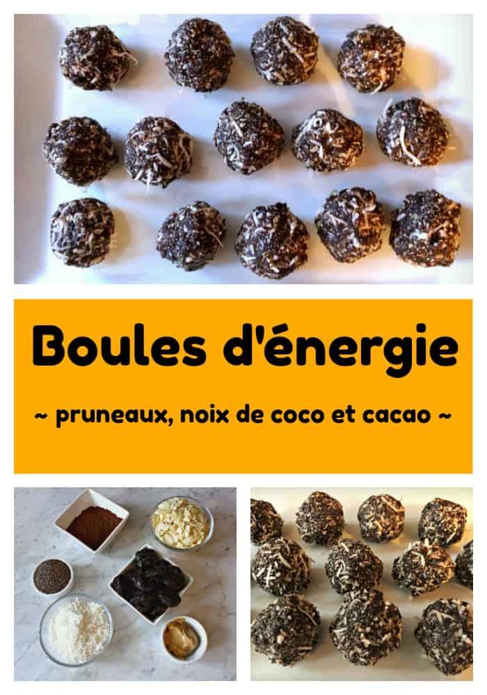 Boules d'énergie aux pruneaux, noix de coco et cacao