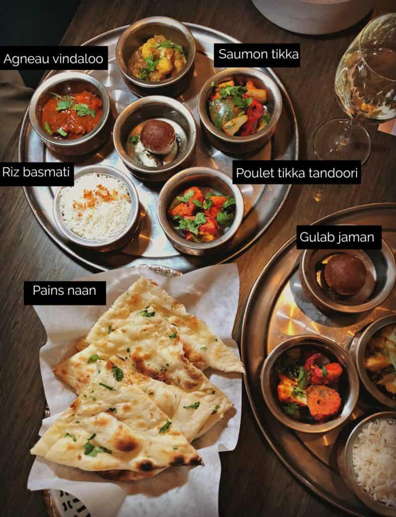 Agneau Vindaloo, Poulet Tikka Tandoori, Saumon Tikka, Gulab Jaman, pain Naan et riz - restaurant Tandoori Mahal