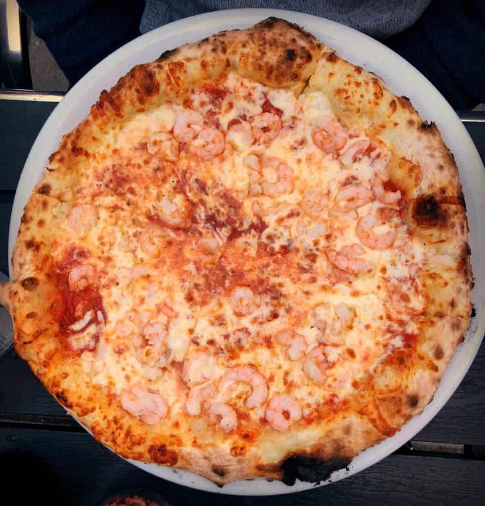 Pizza Tiziana aux crevettes