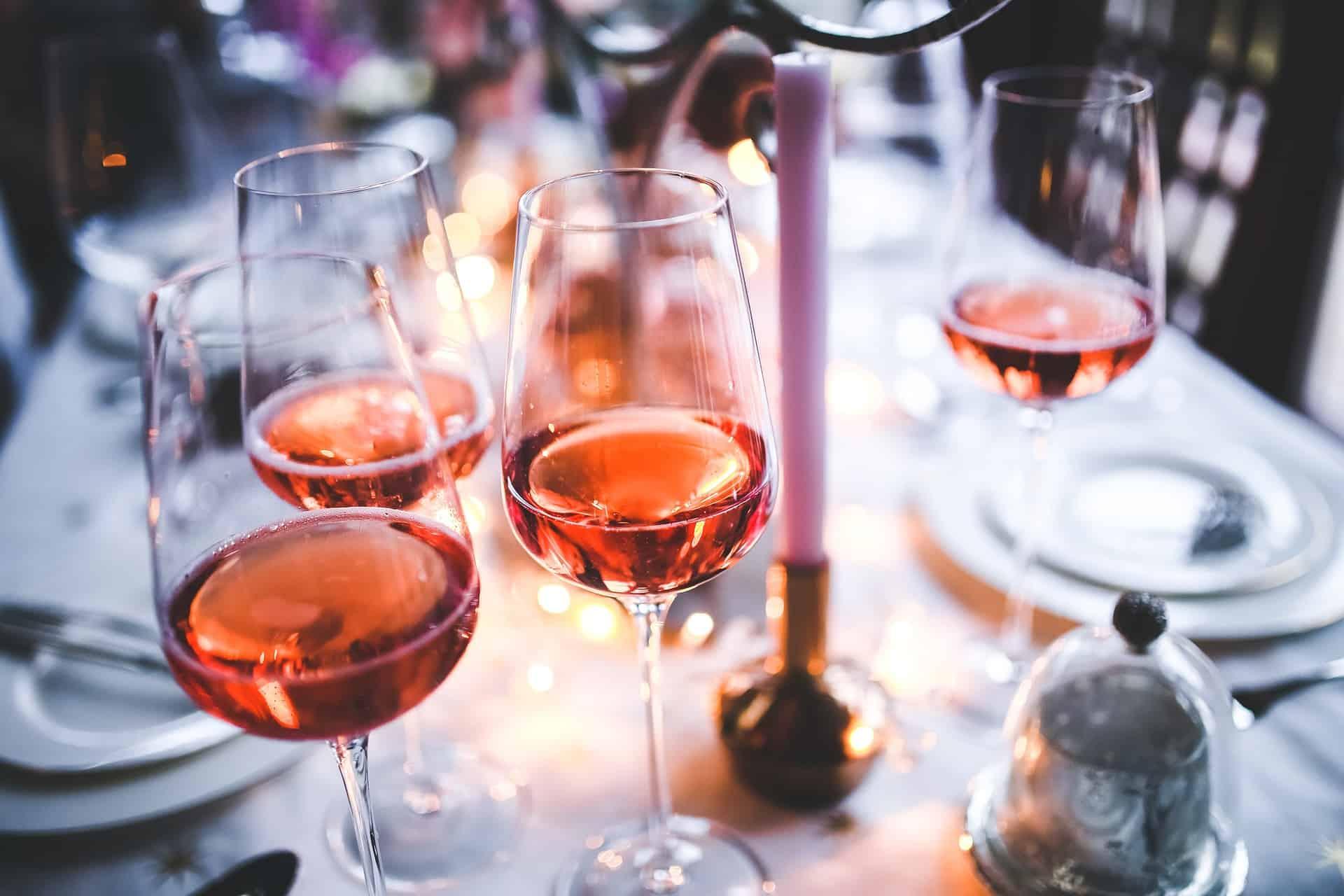 Coupes de vins rosé
