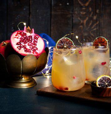 Cocktail festif au rhum et à la canneberge