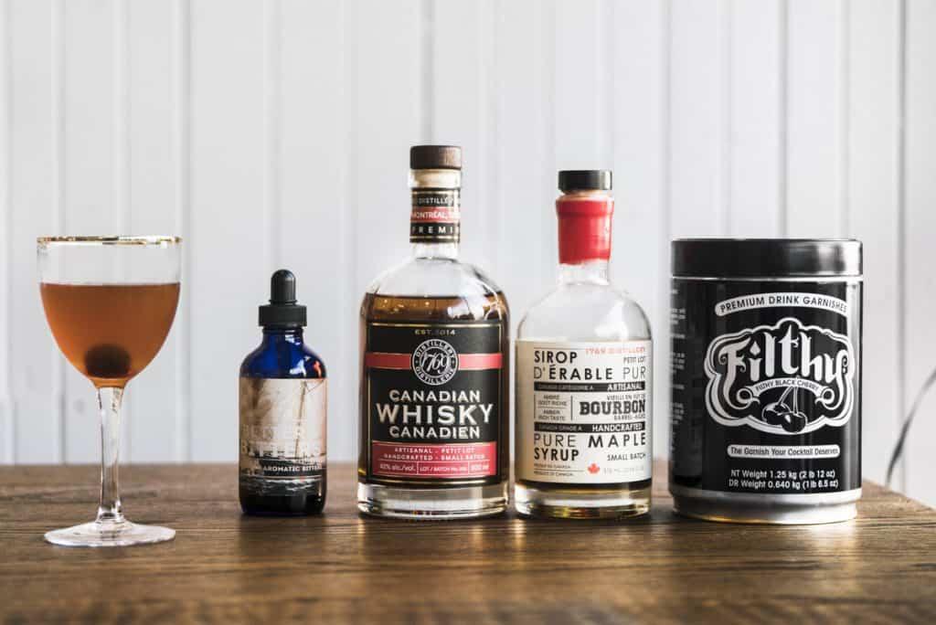 Ingrédients utilisés pour le old-fashioned à l'érable
