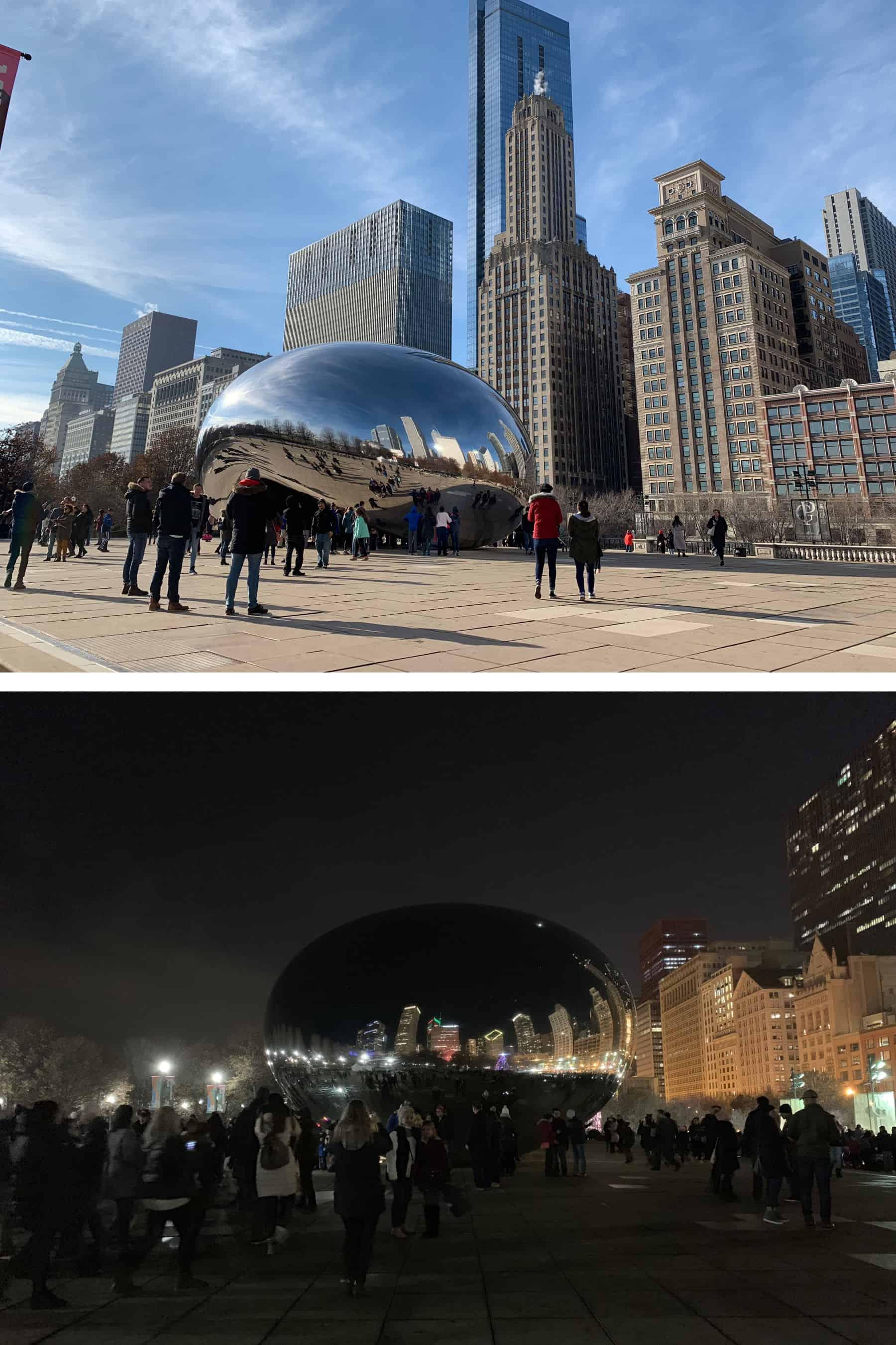 Cloud Gate de jour et de nuit - Millenium Park - Chicago