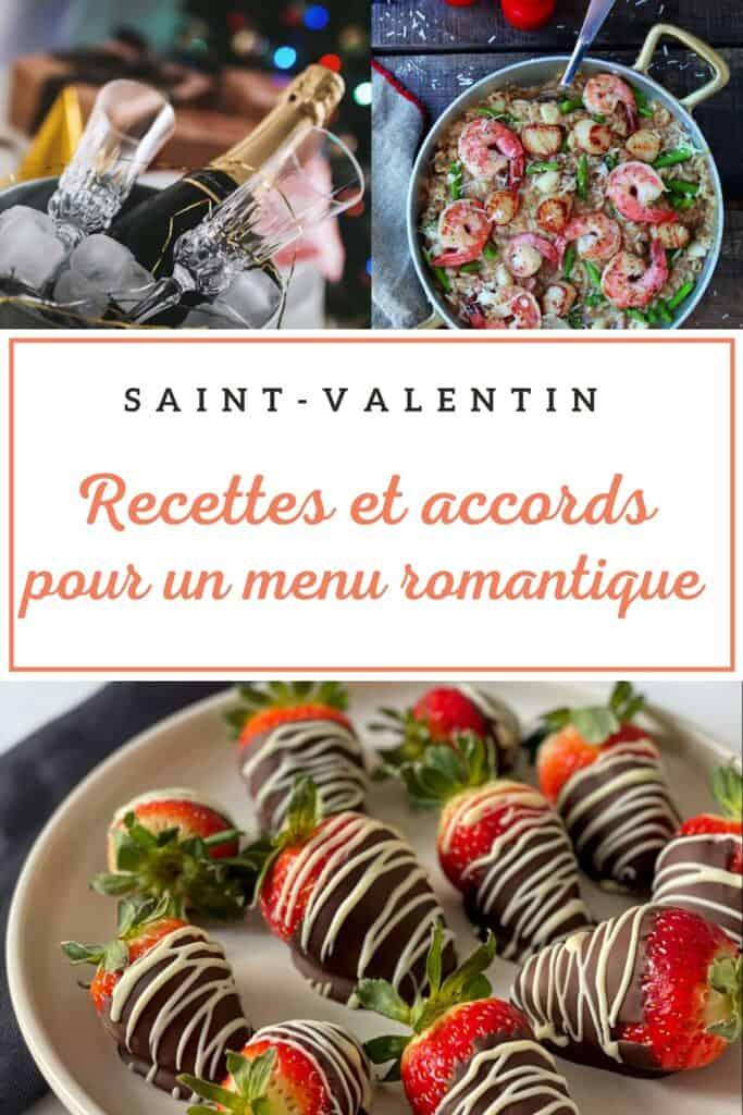 Recettes et accords mets -vins pour le souper de la Saint-Valentin