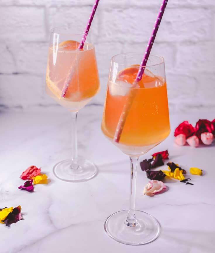 Two glasses of Amaretto Spritz