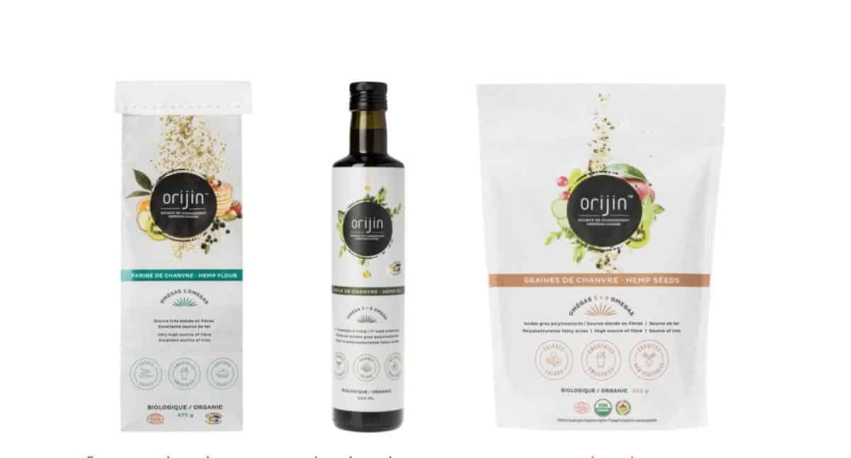 Produits de chanvre Orijin Bio : huile de chanvre, graines et farine