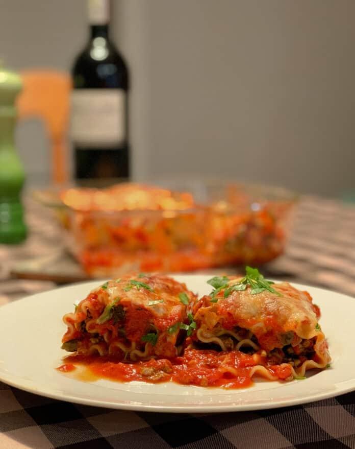 Rouleaux de lasagne au veau, aux épinards et à la ricotta