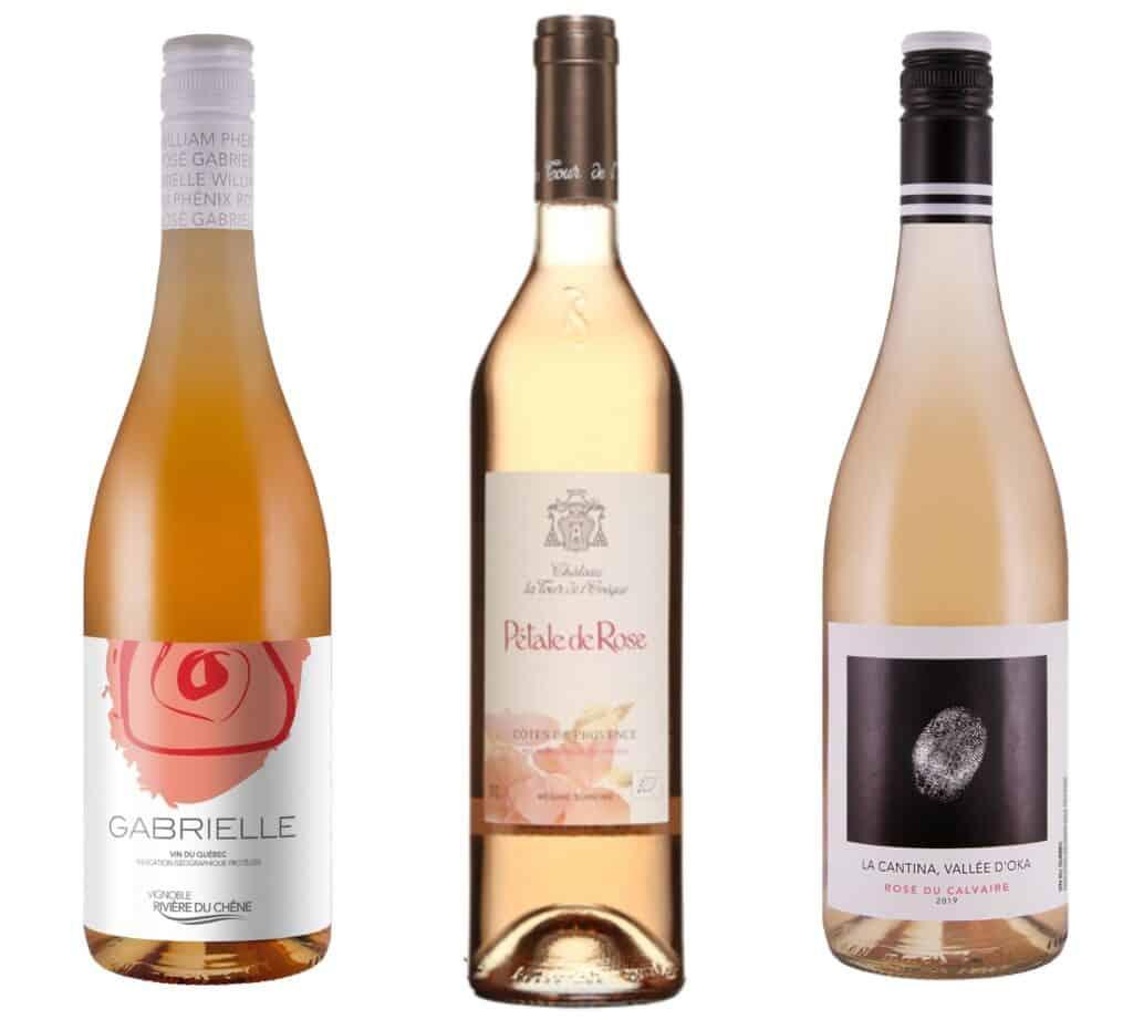 3 vins rosés : Gabrielle, Pétale de Rose et La Cantina