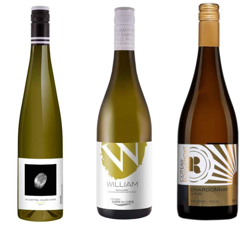 3 vins blancs du Québec : riesling vignoble La Cantina, le William blanc de Rivière-du-Chêne et La Plage de Coteau Rougemont