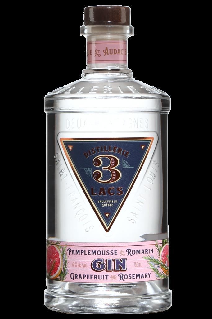 Bouteille de gin Pamplemousse Romarin de la Distillerie 3 Lacs