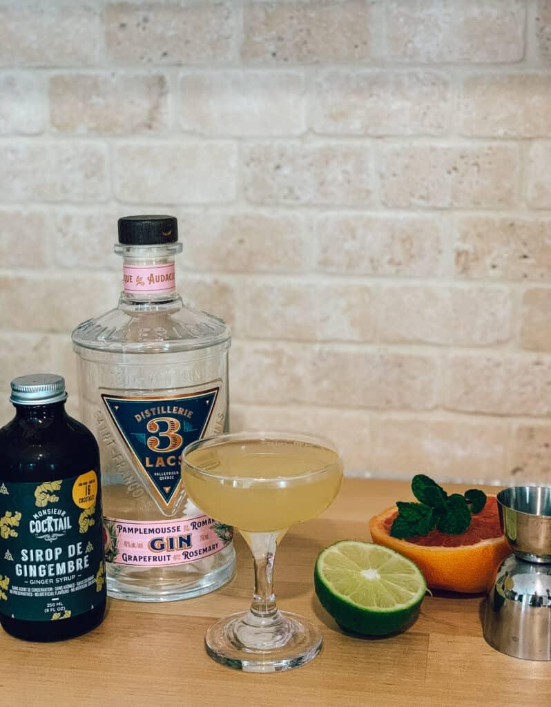 Gin pamplemousse romarin de la Distillerie 3 Lacs