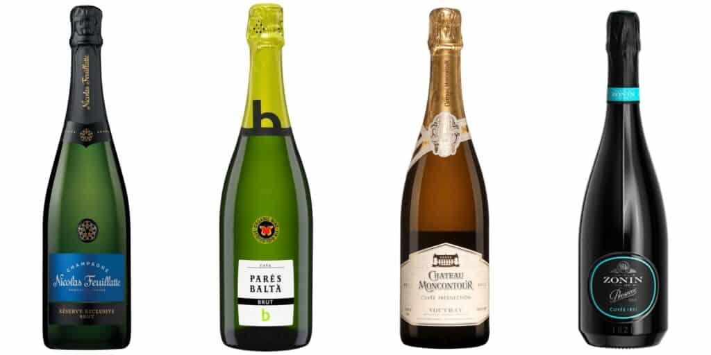 Vins mousseux à découvrir : un prosecco, un champagne, un cava et un Vouvray