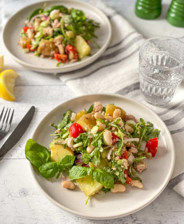 Salade de thon, haricots blancs et pommes de terre inspirée de la Sicile