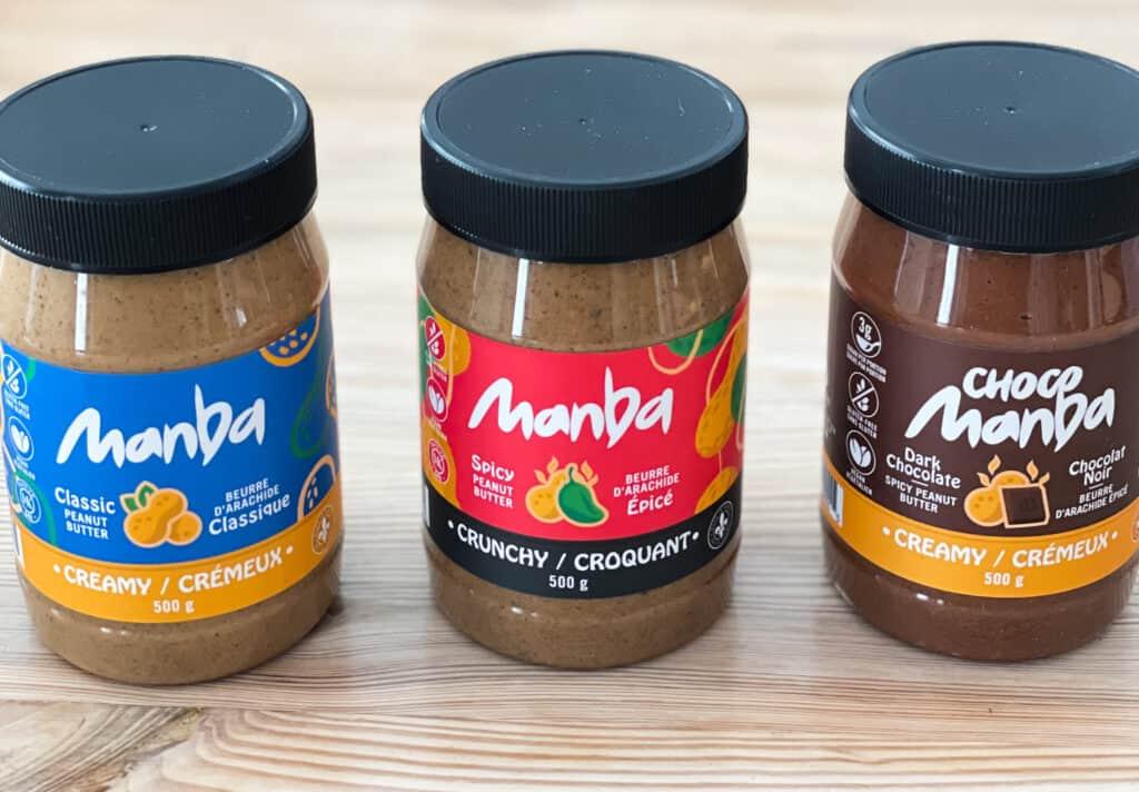 Beurres d'arachides classique, épicé et au chocolat épicé de Manba