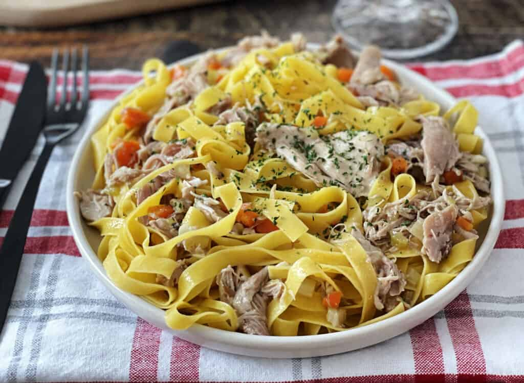 Plate of Braised and Pulled Turkey Pasta