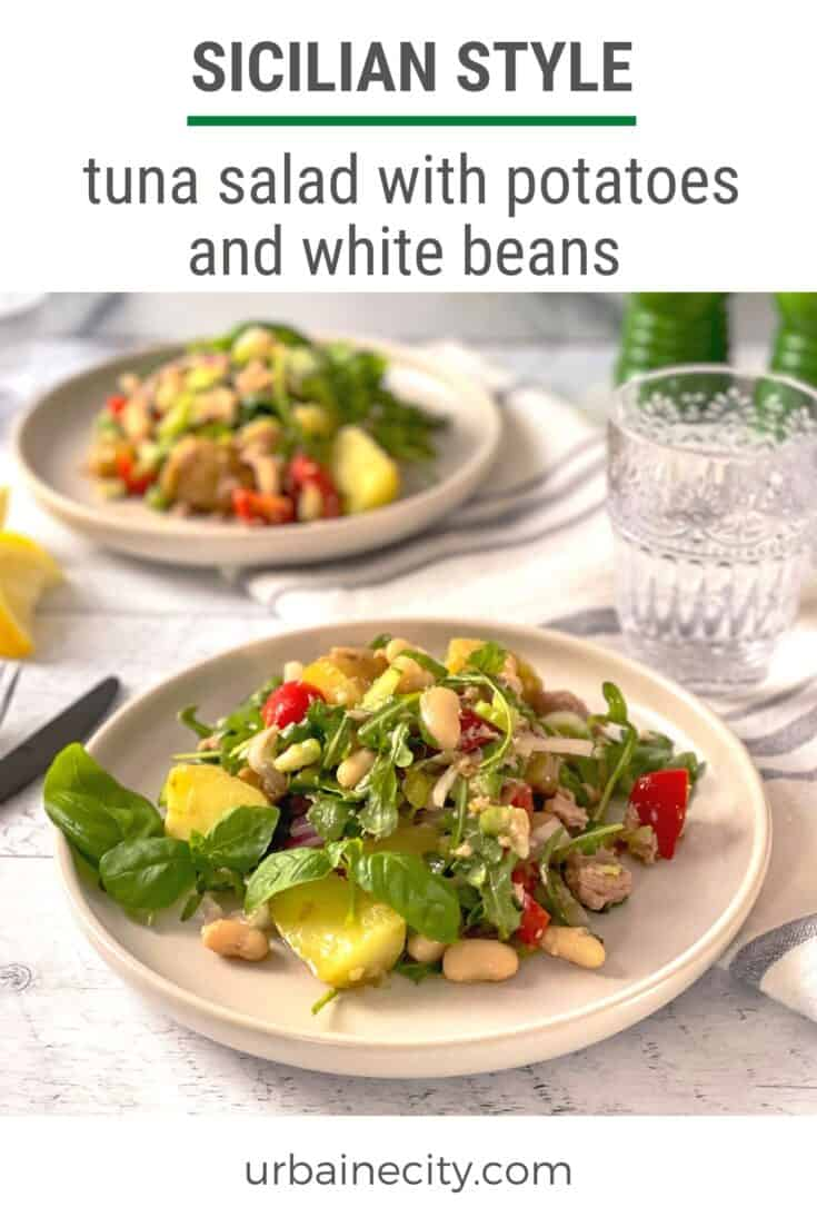 Sicilian style tuna salad with potatoes and white beans
