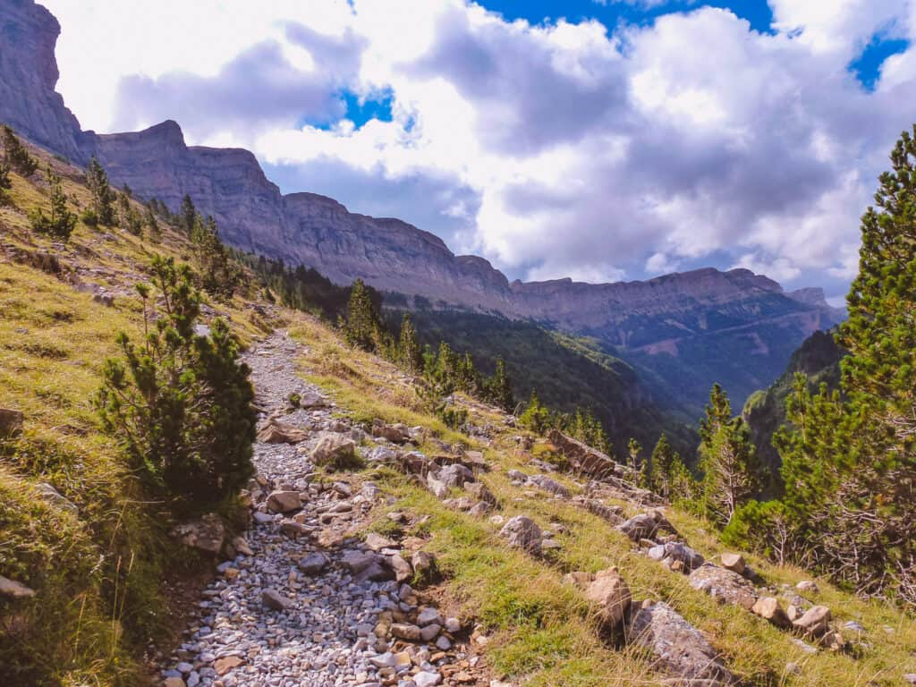 Walking path in Ordesa National Park in the Pyrenees