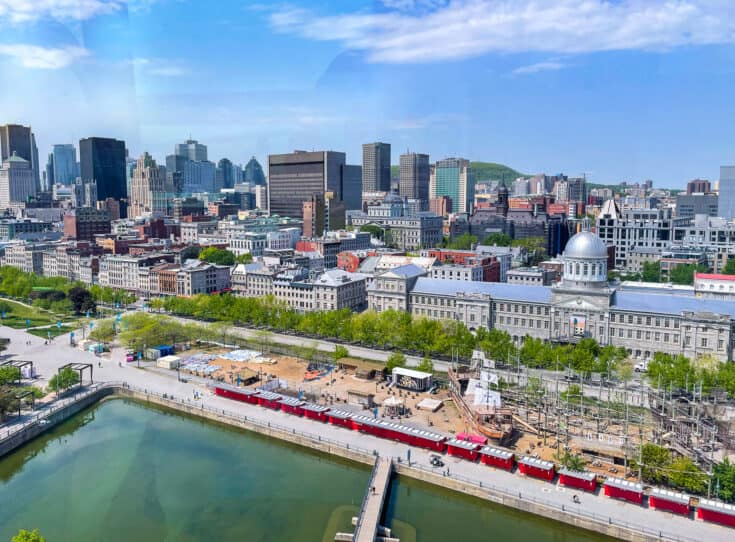 View of the Bonsecours Market and part of downtown Montreal from the cabin