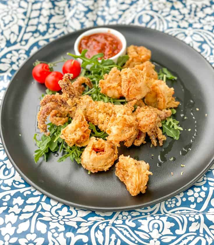 The really good fried calamari from the bistro of La Grande Roue