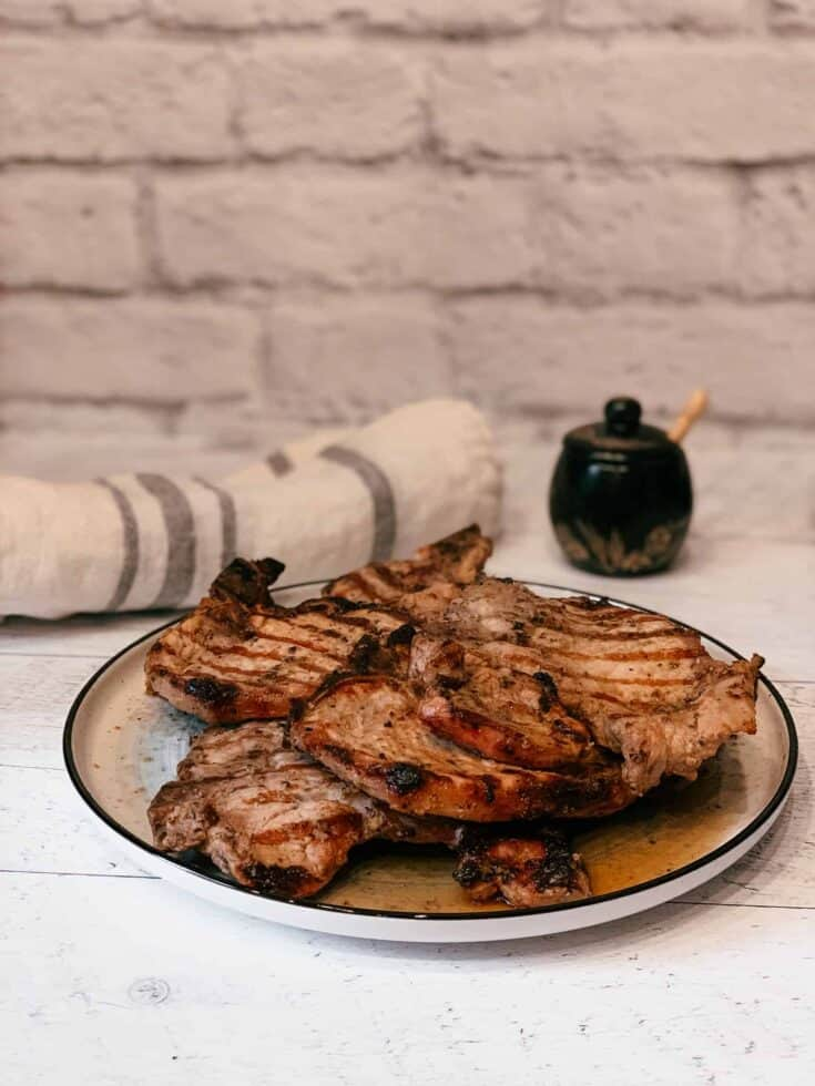 Grilled pork chops in a plate