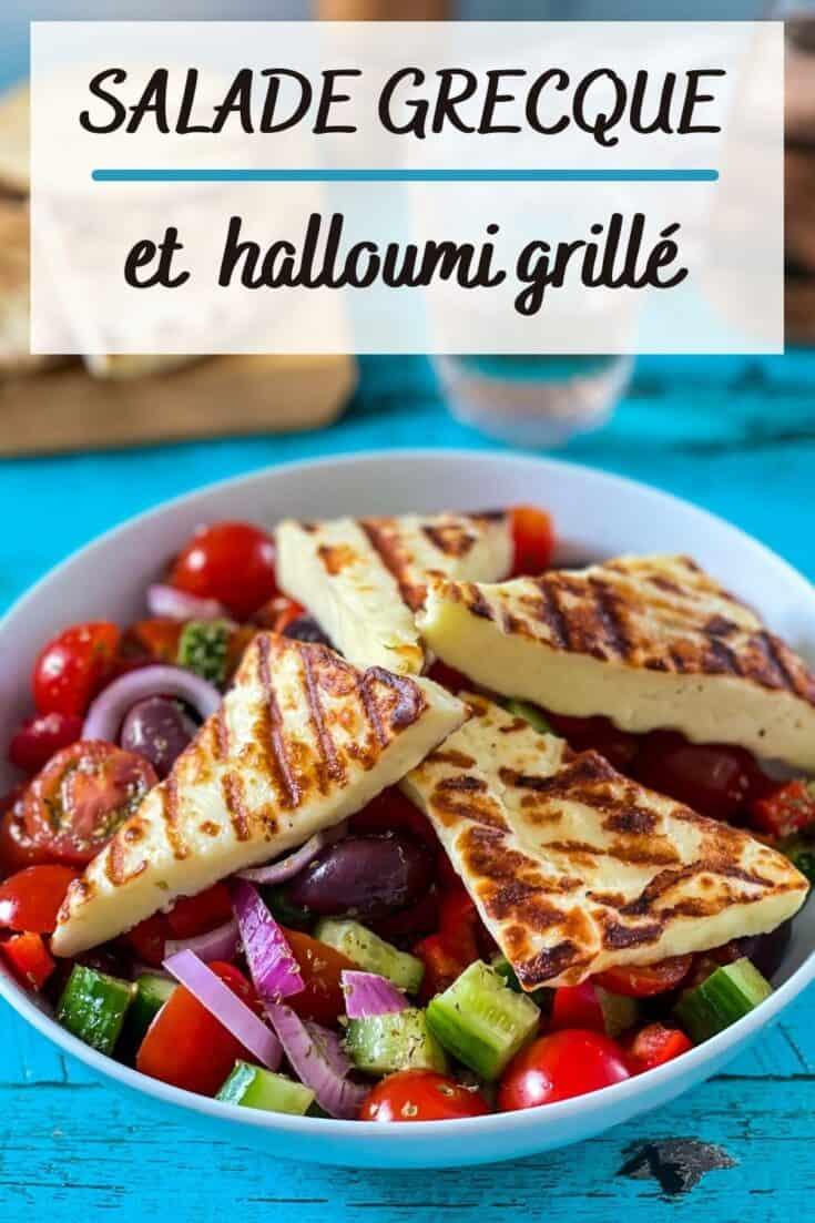 Recette de salade grecque avec fromage halloumi grillé