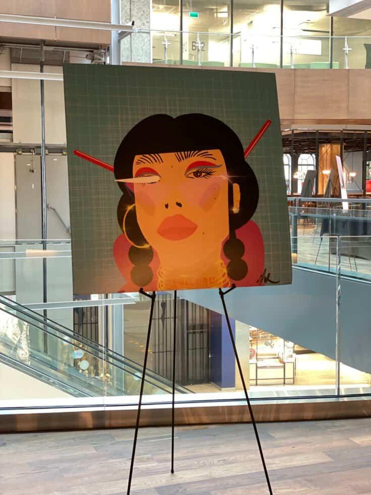 Une des oeuvres de Sandrine Ap exposées au Time Out Market de Montréal