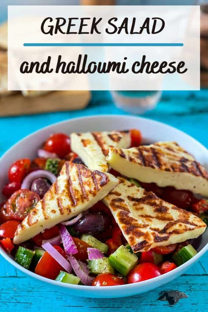 Greek salad recipe with halloumi cheese