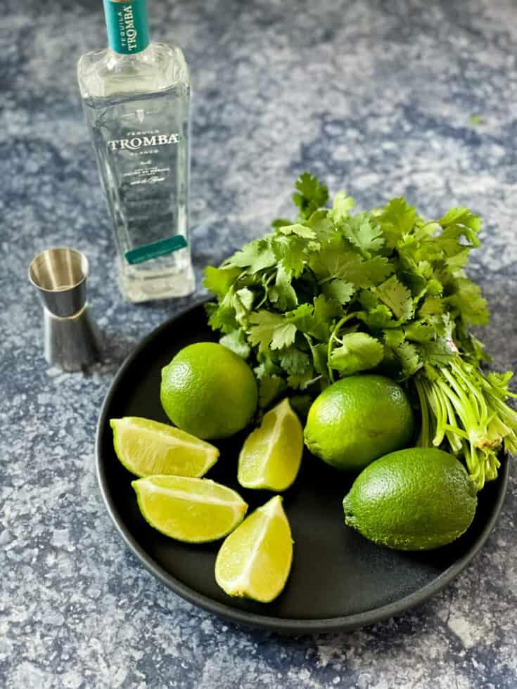 Lime, tequila et coriandre