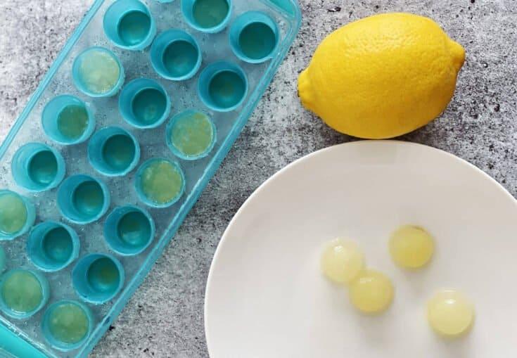 Frozen lemon juice in an ice tray