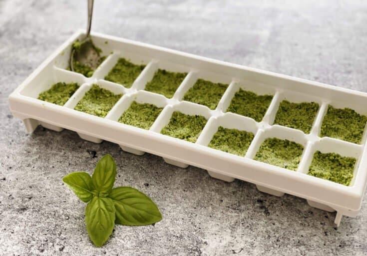 Frozen pesto in an ice cube tray