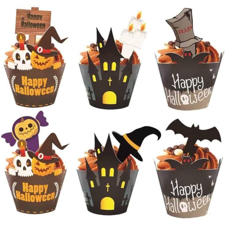Caissette et décorations d'Halloween pour cupcakes