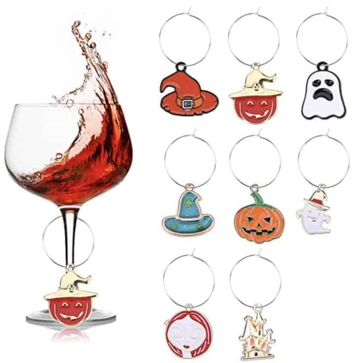 Lot de 8 breloques réutilisables pour verres à vin d'Halloween